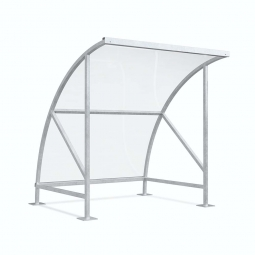 Raucher- und Pausenunterstand, Rahmen verzinkt, BxTxH 2090 x 2100 x 2290 mm