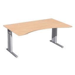 Schreibtisch PREMIUM höhenverstellbar, Buche/Silber, BxTxH 1600x800/1000x680-820 mm