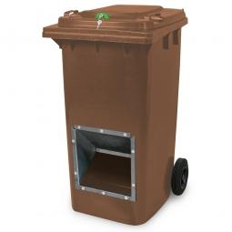 Streugutbehälter mit Entnahmeöffnung und Schließung, braun, 240 Liter, BxTxH 580 x 730 x 1075 mm
