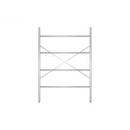 Aluminiumregal mit 4 geschlossenen Regalböden, Stecksystem, BxTxH 1400 x 400 x 2000 mm, Nutztiefe 340 mm