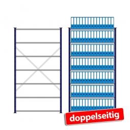 Fachbodenregal mit 7 Böden, Stecksystem, Grundregal, doppelseitige Ausführung, BxTxH 1270 x 630(2x315) x 2300 mm, Oberfläche kunststoffbeschichtet