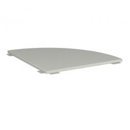 Verkettungsplatte ELEGANCE Viertelkreis 90°, Dekor Lichtgrau, BxT 800x800 mm