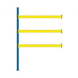 Paletten-Anbauregal für 12 Europaletten, Tragbalkenebenen mit 38 mm Spanplattenböden, Fachlast 2900 kg/Tragbalkenpaar, BxTxH 2785 x 1100 x 4000 mm