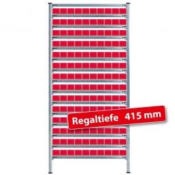 Fachbodensteck-Grundregal mit Regalkästen, HxBxT 2000x1070x415 mm