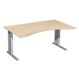 Schreibtisch PREMIUM höhenverstellbar, Ahorn/Silber, BxTxH 1600x800/1000x680-820 mm