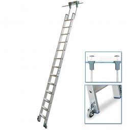 Aluminium-Stufenregalleiter, fahrbar, Mit 13 Stufen, senkrechte Einhängehöhe von 3310 bis 3540 mm