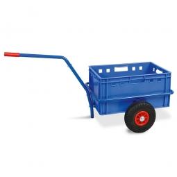 Handwagen mit E2 Kunststoffkasten, H 300 mm, blau, LxBxH 1250 x 640 x 660 mm, Tragkraft 200 kg