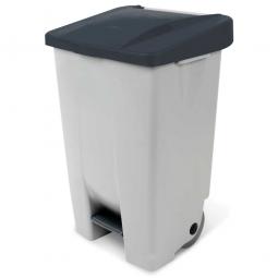 Tret-Abfallbehälter mit Rollen, PP, BxTxH 490 x 420 x 740 mm, 80 Liter, grau/schwarz