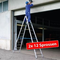 Alu-Sprossen-Doppelleiter mit 2x 12 Sprossen, Leiterhöhe 3250 mm, max. Arbeitshöhe 4850 mm
