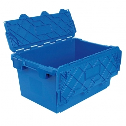 Mehrwegbehälter mit anscharnierten Deckeln, ALC74355, blau, LxBxH 715x465x355 mm