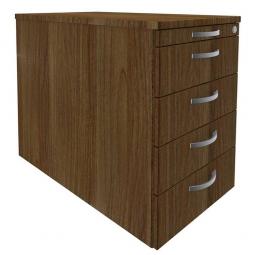 Standcontainer, 5 Schubladen, Nussbaum, BxTxH 438x800x720 mm