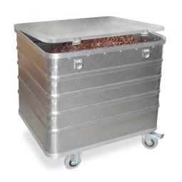 Transportwagen aus Leichtmetall mit Deckel, 229 Liter, LxBxH 730x605x732 mm, Tragkraft 200 kg