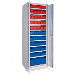 Schrank mit Regalkästen rot, LxBxH 400 x 91 x 81 mm + blau, LxBxH 400 x 183 x 81 mm, Türen in lichtgrau RAL 7035