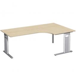 Schreibtisch PREMIUM, Tischansatz rechts, Ahorn/Silber, BxTxH 2000x800/1200x680-820 mm