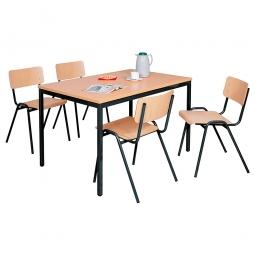 Mehrzweck-Sitzgruppe, 4 Stahlrohr-Stühle + 1 Kantinentisch, LxBxH 1200 x 800 x 750 mm, Dekor Buche / schwarz