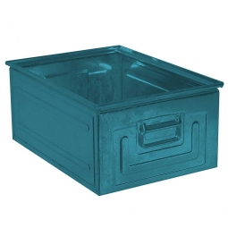Stapelkasten ST1 aus Stahlblech, 27,5 Liter, LxBxH 500 x 300 x 200 mm, blaugrün