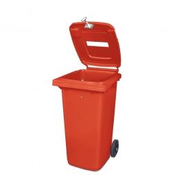 Müllbehälter mit Papiereinwurf, verschließbar, 120 Liter, rot