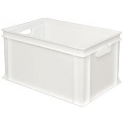 Eurobehälter mit 2 Durchfassgriffen, LxBxH 600 x 400 x 320 mm, 63 Liter, weiß