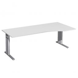 Schreibtisch PREMIUM höhenverstellbar, rechts, Lichtgrau/Silber, BxTxH 2000x800/1000x680-820 mm