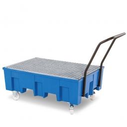 Fahrbare Auffangwanne mit verzinktem Gitterrost, BxTxH 865 x 1245 x 1060 mm, Auffangvolumen 220 Liter