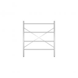 Aluminiumregal mit 4 Gitterböden, Stecksystem, BxTxH 1400 x 400 x 1600 mm, Nutztiefe 380 mm
