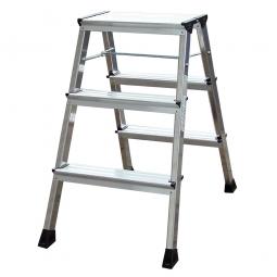 Alu-Doppel-Klapptritt, 2x 3 Stufen, Standhöhe 650 mm, max. Arbeitshöhe 2650 mm, Gewicht 2,4 kg