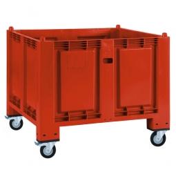 Palettenbox mit 4 Lenkrollen, 2 Feststellbremsen, rot, 1200x800x1000 mm, Boden/Wände geschlossen