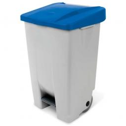 Tret-Abfallbehälter mit Rollen, PP, BxTxH 490 x 420 x 740 mm, 80 Liter, grau/blau