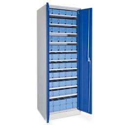 Schrank mit Regalkästen taubenblau, LxBxH 400 x 117 x 90 mm, Türen in enzianblau RAL 5010