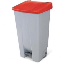 Tret-Abfallbehälter mit Rollen, PP, BxTxH 510 x 430 x 880 mm, 120 Liter, grau/rot
