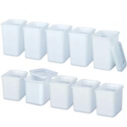 Set-Zutatendosen mit dichtschließenden Deckeln, PE-HD, 5x 2 Liter und 5x 3 Liter, weiß