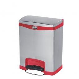 Tretabfalleimer SlimJim, 30 Liter, Edelstahl, rot, LxBxH 428x326x556 mm, Pedal an der Breitseite