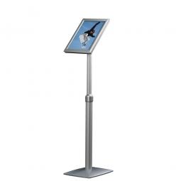 Info-Ständer mit Höhenverstellung, DIN A4, Plakatgröße BxH 210x297 mm, Hochformat, silber