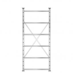 Fachbodenregal mit 6 Böden, Stecksystem, Grundregal, doppelseitige Ausführung, BxTxH 870 x 630 mm (2x315 mm) x 2000 mm, Oberfläche glanzverzinkt