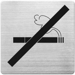 """Hinweisschild """"Rauchen verboten"""", Edelstahl, HxBxT 90x90x1 mm"""