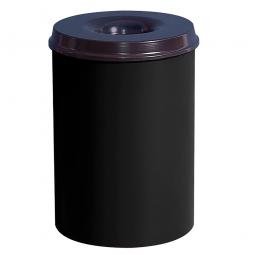 Sicherheits-Papierkorb, Inhalt 15 Liter, schwarz, HxØ 360x255 mm ,Stahlblech, Einwurföffnung Ø 110 mm