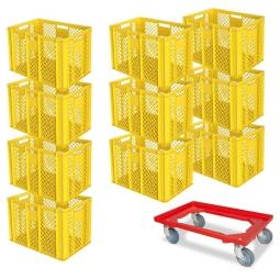 10x Euro-Stapelbehälter + 1 Transportroller GRATIS, Farbe gelb, LxBxH 600x400x410 mm