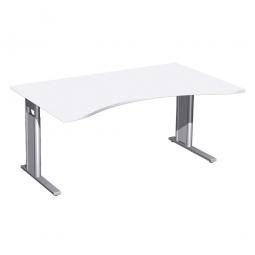 Schreibtisch PREMIUM höhenverstellbar, Weiß/Silber, BxTxH 1800x800/1000x680-820 mm