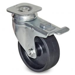 Lenkrolle mit Feststellbremse für Transportroller, Rad-ØxB 100x34 mm, Tragkraft 85 kg, PP, schwarz