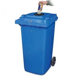 Verschließbarer Müllbehälter mit Flascheneinwurf und Gummirosette, 240 Liter, blau