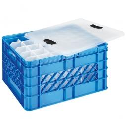 Gläserkasten mit Deckel, 30 Fächer, LxBxH 500x400x260 mm, blau