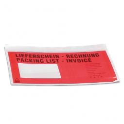 Lieferschein-Taschen DIN lang, Polyethylen-Folie, LxB 240x135 mm, selbstklebend, (VE = 1000 Stück)