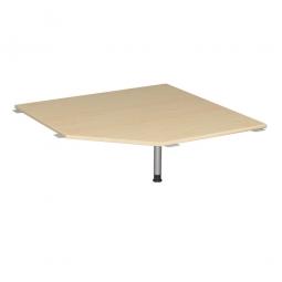 Verkettungsplatte, Fünfeck 90° Komfort, Gestell silber, Dekor Ahorn, BxT 1225x1225 mm