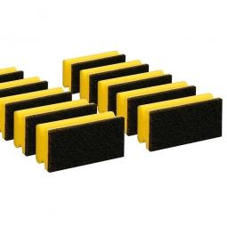 Padschwamm, gelb-schwarz, LxBxH 150x70x45 mm, Spezialreiniger mit sehr starkem Vlies, Paket = 10 Schwämme