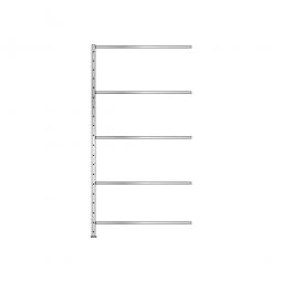 Schnellbau-Steck-Anbauregal, glanzverzinkt, HxBxT 2400x1210x610 mm, mit 5 Fachböden