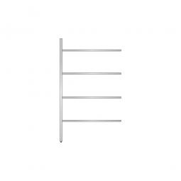 Aluminium-Anbauregal mit 4 geschlossenen Regalböden, Stecksystem, BxTxH 1175x500x2000 mm, Nutztiefe 440 mm