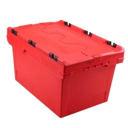 Universal Klappdeckelbox, verplompbar, LxBxH 600 x 400 x 300 mm, 47 Liter, rot