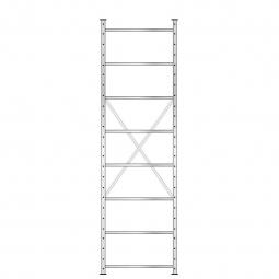 Fachbodenregal mit 8 Böden, Stecksystem, Grundregal, doppelseitige Ausführung, BxTxH 870 x 630 (2x315) x 3000 mm, Oberfläche glanzverzinkt