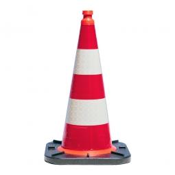 Leitkegel reflektierend, Höhe 750 mm, Kegel in Farbe rot mit 2 weißen Streifen, Gewicht 4,3 kg