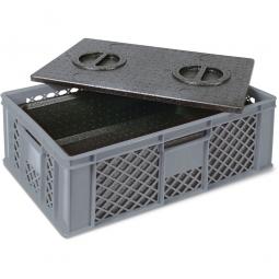 Eurobehälter mit EPP-Isolierbox, LxBxH 600 x 400 x 230 mm, 20 Liter, grau